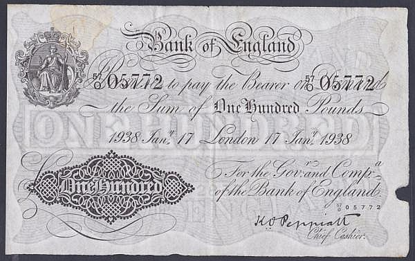 One hundred pounds Peppiatt white B245 dated 17th January 1938 series 57/O 05772, London issue, small hole & rust stain top left, VF
