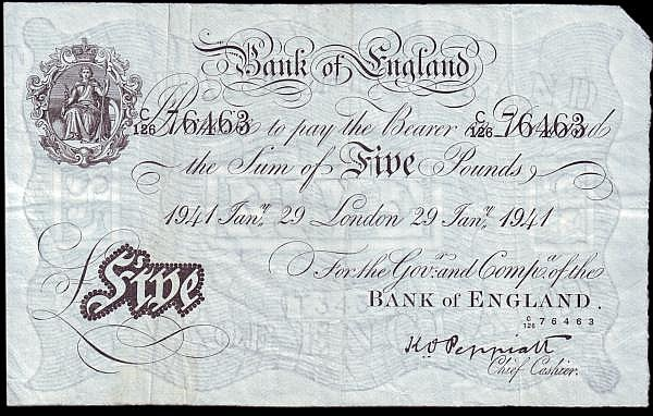 Five pounds Peppiatt white B241 dated 29th January 1941, series C/126 76463, faint stain, about VF and a scarcer date type