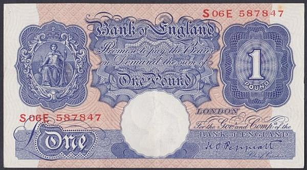 One pound Peppiatt blue B250 issued 1940, replacement series S06E 587847, small foxing spot top right, about EF
