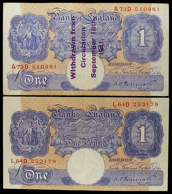 One pound Peppiatt B249 (2) blue WW2 issue, series L64D VF and A73D with a good quality Guernsey