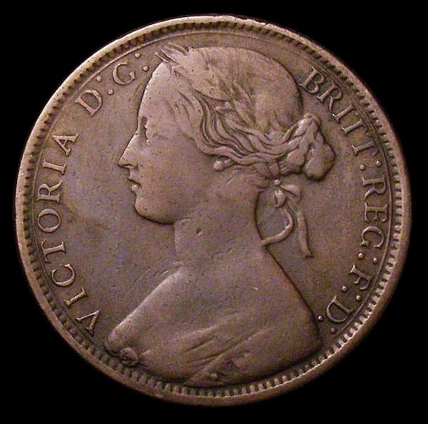 Penny 1869 Freeman 59 dies 6+G VG with a heavy edge knock, all major details clear, Rare