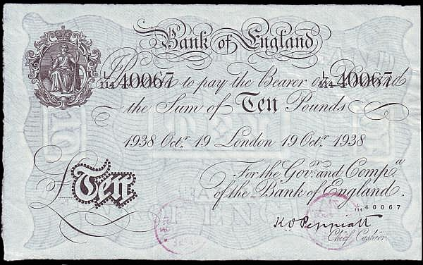Ten pounds Peppiatt white B242 dated 19th October 1938 series L/114 40067, inked number & bank stamps on reverse, GVF