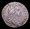 Sixpence 1696B First Bust, Large Crowns, Early Harp ESC 1535 About VF the reverse with an attractive tone