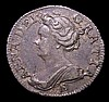 Sixpence 1707E ESC 1588 VF/GF with an old scratch in the obverse field
