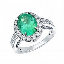 2.53 Ct Emerald and 0.69 ct Diamond Ring