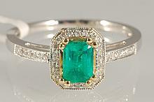 0.12ct Diamond & 1.48ct Emerald Ring