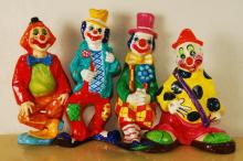 Lot of 4 Vintage Paper Mache Clowns