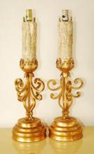 Pair Vintage Wrought Iron Table Lamps