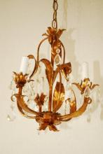 Mini Crystal Chandelier with 3 Lights, Gold Gilded