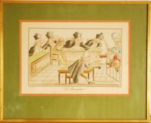La Sentence, Color Lithograph 1900, France Caricat