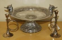Silver Plated Footed Bowl & Candle Sticks