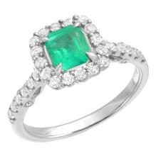 1.31  CT EMERAL AND DIAMOND RING 18K WG