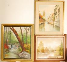 Lot of 3 Original Oil Paintings Signed