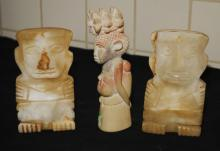 Vtg Carved Marble Art Sculptures Mayan aztec
