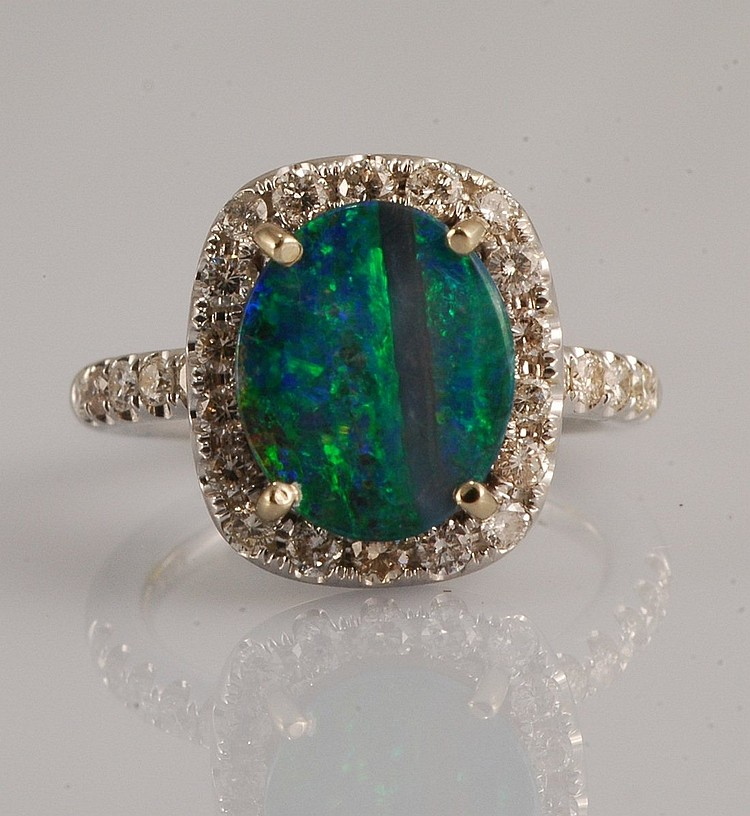 3.85ct - Opal & Diamond Ring
