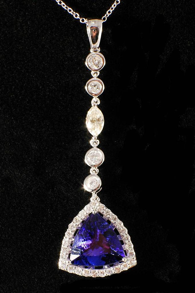 6.98ct Tanzanite and Diamond Necklace