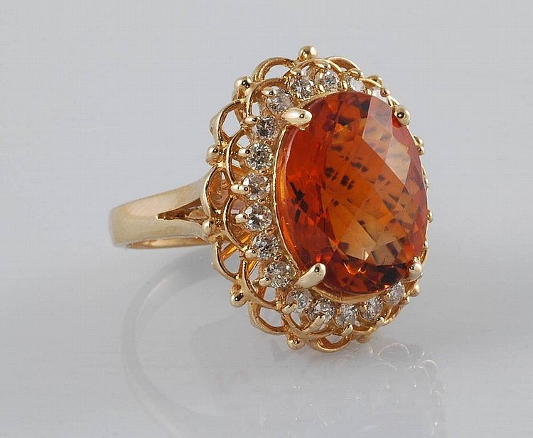 8.45ct Citrine & Diamond Ring