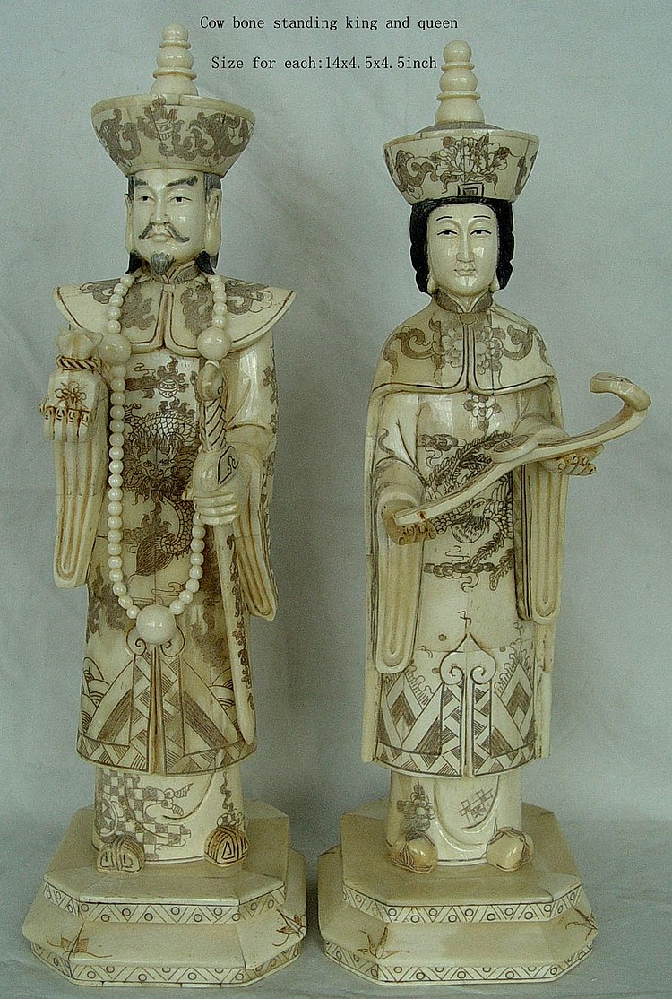 Hand Carved Bone Standing King and Queen 14