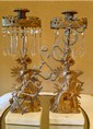 Pair of Vintage European Crystal and Gilded Bronze Candle Holders