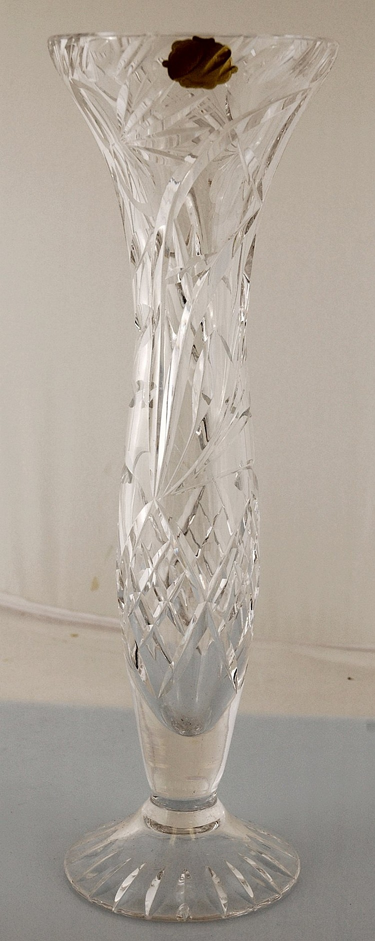 Vintage Echt Bleikristall Crystal Footed Vase Germany 12