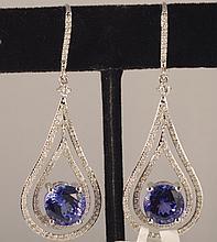 8.5 Carat Tanzanite and Diamond Earrings 14K Gold