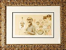 Self Portrait with Models by Charles Bragg, Signed