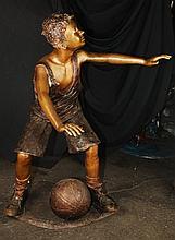 Boy Playing Basketball Bronze Statue
