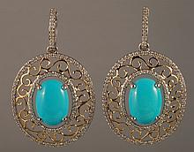 8.83 Carat Turquoise and Diamond Earrings 14K Gol