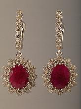 6.92 Carat Ruby and Diamond Earrings 14K Gold