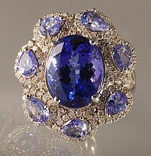 10.61ctw Tanzanite & 1.16ct Diamond Ring 18K