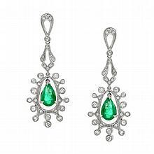 3.86 Carat Emerald and Diamond Earrings