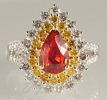 3.09 ct Orange Sapphire and Diamond Ring 18K WG