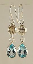 Blue Topaz & White Quartz Earrings