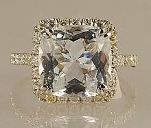 6.01ct Aquamarine and Diamond Ring in White Gold