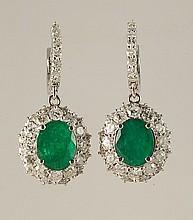 8.26ct Emerald & Diamond Earrings