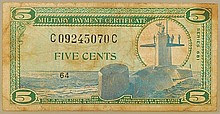 MPC Military Payment Certification 5cents Note