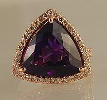 10.96ct Trillion-Cut Amethyst and Diamond Ring