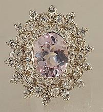 5.56ct Kunzite and Diamond Ring in White Gold