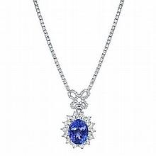 7.42 ct Tanzanite & 4.13ct Diamond Necklace 18K