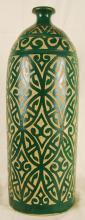 Vintage Etched Green Moroccan Vase