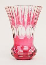 European Red Cut Crystal Vase 8.5