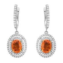 3.00 ct Sapphire and 0.55ct Diamond Earrings
