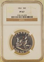 Franklin Half Dollar Silver Coin 1961 50C PF67