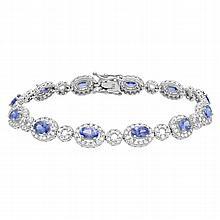 8.56 Carat Tanzanite and Diamond Bracelet 14K Gold