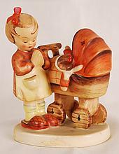 M.J. Hummel, Girl Praying with Baby in Stroller
