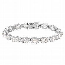 28.42 Carat Kunzite and Diamond Bracelet 18K Gold