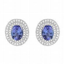 4.54 Carat Tanzanite and Diamond Earrings 14K Gold
