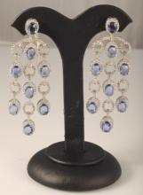 16.13 Carat Sapphire and Diamond Earrings 18K G