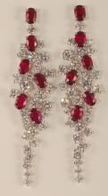 13.10 Carat Ruby and Diamond Earrings 18K G