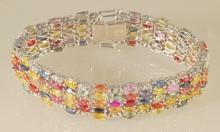 33.19ct Multi-colored Sapphire Bracelet